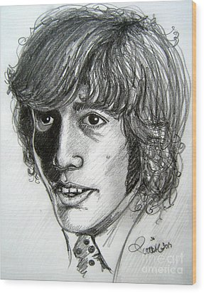 Wood Print featuring the drawing Robin Gibb by Patrice Torrillo