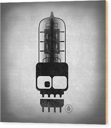 Wood Print featuring the digital art X-ray Tubeskull by Milton Thompson