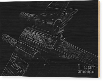 X Wing Fighter Bw Wood Print by Chris Thomas