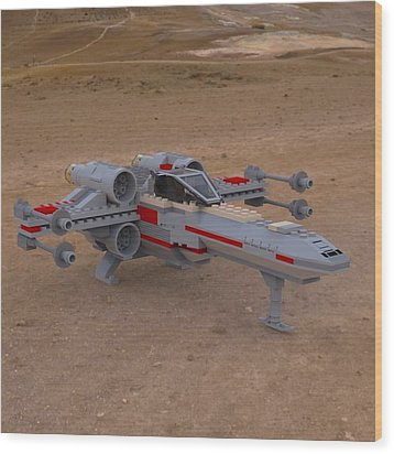 X-wing On The Ground Wood Print by John Hoagland