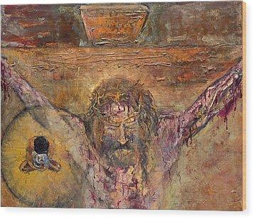 Xii Station Jesus Dies On The Cross Wood Print