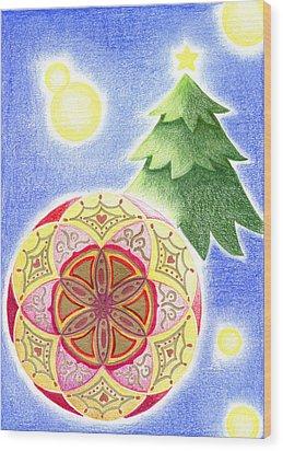 X'mas Ornament Wood Print by Keiko Katsuta