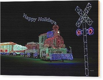Xmas Tree Train Happy Holidays Wood Print by Thomas Woolworth