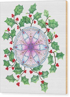 X'mas Wreath Wood Print by Keiko Katsuta