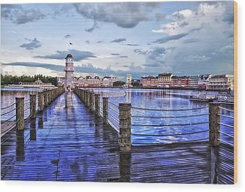 Yacht And Beach Club Lighthouse Wood Print by Thomas Woolworth
