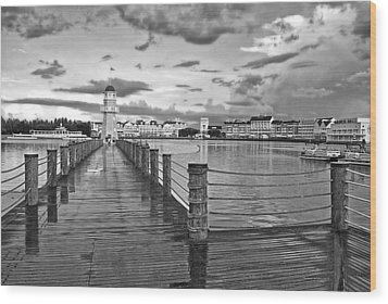 Yacht And Beach Lighthouse In Black And White Walt Disney World Wood Print by Thomas Woolworth