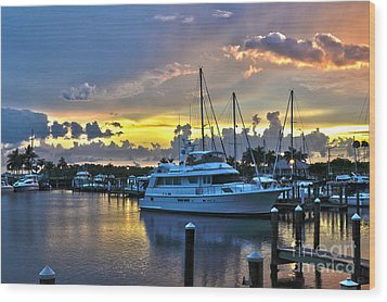 Wood Print featuring the photograph Yacht At Cape Coral Florida Marina And Resort 2 by Timothy Lowry
