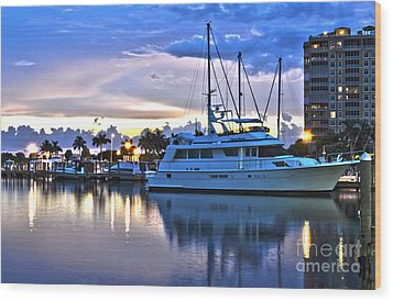 Wood Print featuring the photograph Yacht At Marina In Cape Coral by Timothy Lowry