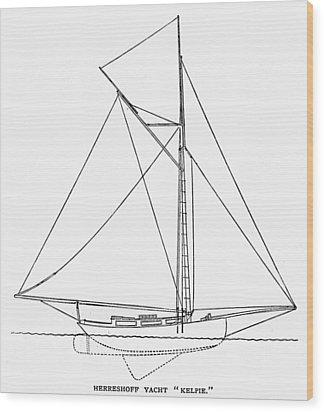Yacht: Kelpie, 1882 Wood Print by Granger