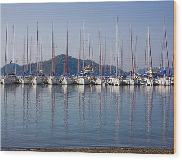 Yachts Docked In The Harbor Gocek Wood Print by Christine Giles
