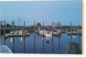 Yachts In Dock Wood Print