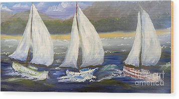 Yachts Sailing Off The Coast Wood Print by Pamela  Meredith