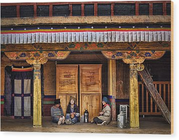 Yak Butter Tea Break At The Potala Palace Wood Print by Joan Carroll