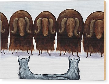 Yak Line Wood Print by Christy Beckwith