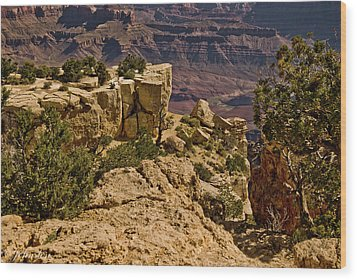 Wood Print featuring the photograph Yaki Point 3 The Grand Canyon by Bob and Nadine Johnston
