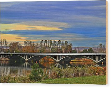 Wood Print featuring the photograph Yakima River Bridge by Lynn Hopwood