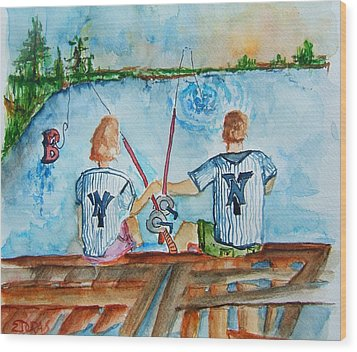 Yankee Fans Day Off Wood Print by Elaine Duras