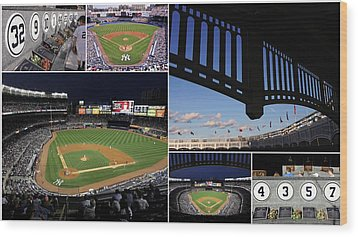 Yankee Stadium Collage Wood Print