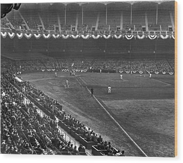 Yankee Stadium Game Wood Print by Underwood Archives