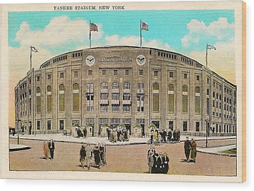 Yankee Stadium Postcard Wood Print by Bill Cannon