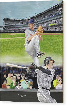 Yankees Vs Indians Wood Print