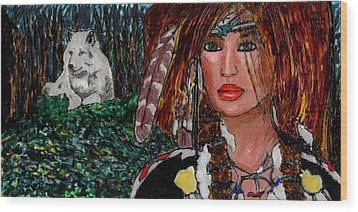 Yanne And Silver Wolf Wood Print by Phil Strang