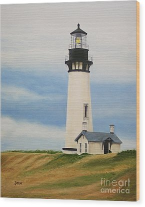 Yaquina Head Lighthouse Wood Print by Jimmie Bartlett