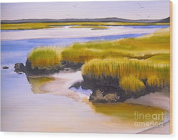 Wood Print featuring the painting Yarmouthport Marsh by Karol Wyckoff