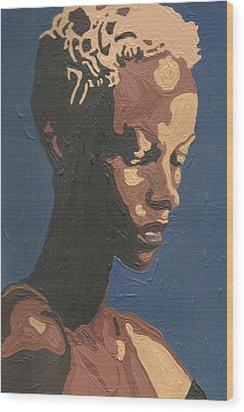 Wood Print featuring the painting Yasmin Warsame by Rachel Natalie Rawlins