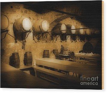 Ye Old Wine Cellar In Tuscany Wood Print by John Malone