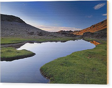 Yeguas Lake At Sunset Wood Print by Guido Montanes Castillo