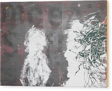 Wood Print featuring the painting Yelling At You Yelling At Me 1986 by Paul Ashby