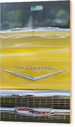 Yellow 1957 Chevrolet  Wood Print by Tim Gainey