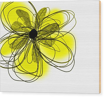 Yellow Abstract Flower Art  Wood Print by Ann Powell