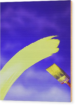 Yellow And Blue Wood Print by Steven Huszar