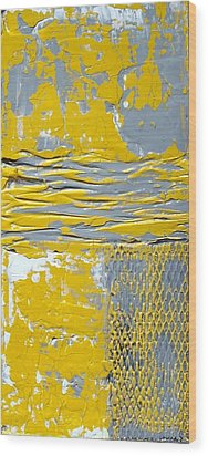 Yellow And Gray Abstract Painting Urban Chic Wood Print