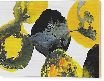 Yellow And Gray Interactions 4 Wood Print by Amy Vangsgard