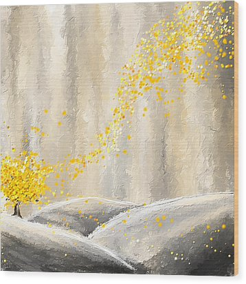 Yellow And Gray Landscape Wood Print