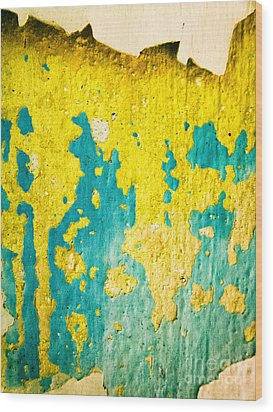 Wood Print featuring the photograph Yellow And Green Abstract Wall by Silvia Ganora