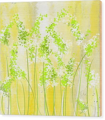 Yellow And Green Art Wood Print by Lourry Legarde