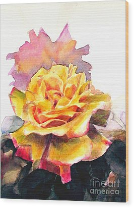 Wood Print featuring the painting Yellow Rose Fringed In Red by Greta Corens