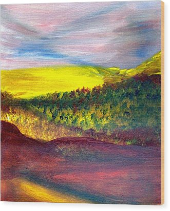 Yellow And Red Landscape Wood Print by Michaela Kraemer