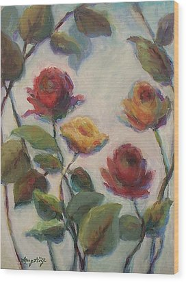 Yellow And Red Roses  Wood Print