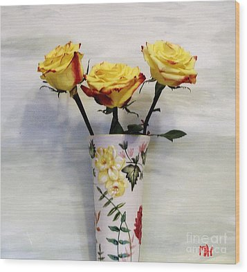 Yellow And Red Tipped Roses Wood Print by Marsha Heiken