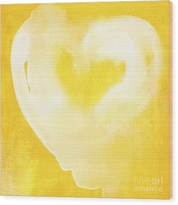 Yellow And White Love Wood Print by Linda Woods