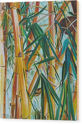 Yellow Bamboo Wood Print by Marionette Taboniar