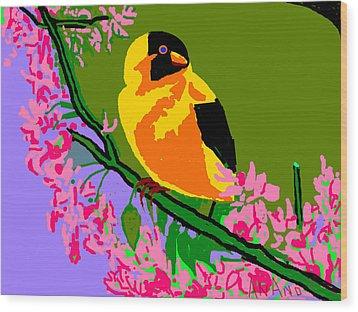 Yellow Bird And Flowerss Wood Print by Anand Swaroop Manchiraju