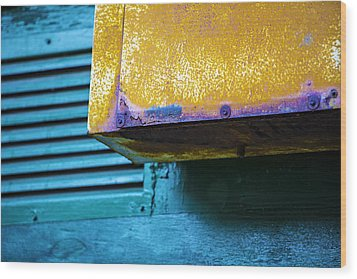 Yellow-blue Abstract Wood Print