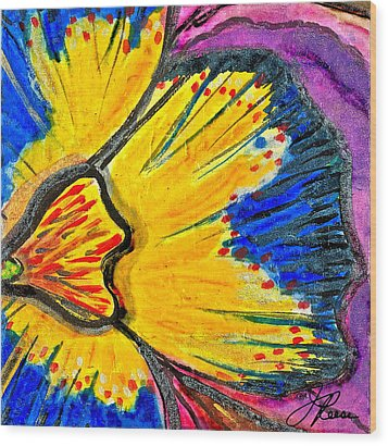 Wood Print featuring the painting Yellow Blue Flower by Joan Reese