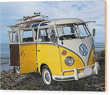Yellow Bus At The Beach Wood Print by Ron Regalado